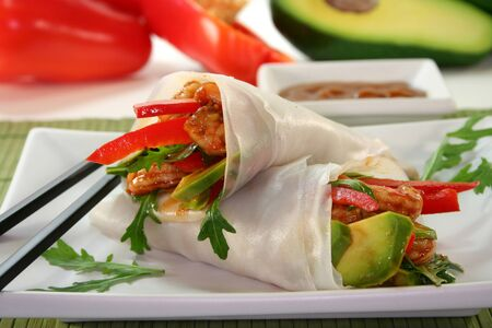 Wrap with shrimp, avocado and arugula photo