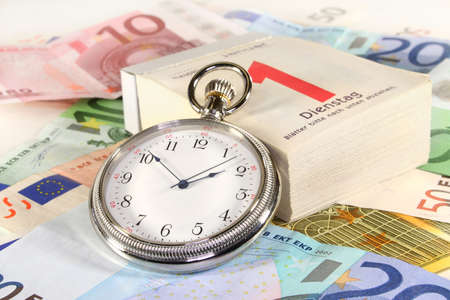 interbank: Pocket watch, calendar and many euro notes