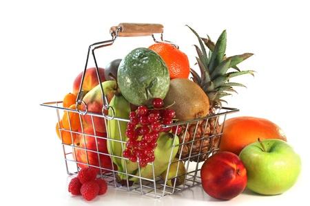 shopping basket: a shopping basket filled with fresh fruit