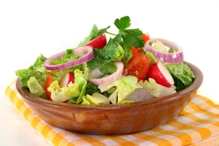 mixed salad with lettuce, tomato and radish