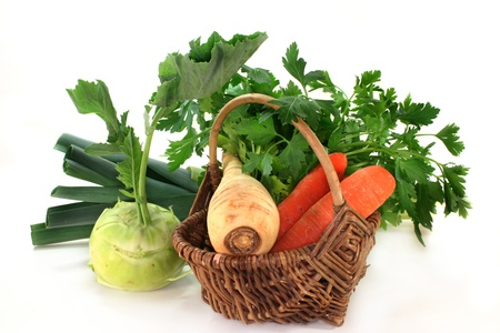 a basket of different soup vegetables