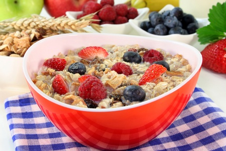 a bowl of cereal with milk, fruit and fresh berries photo