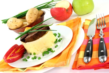 giblets: fried liver with mashed potatoes and apple Stock Photo