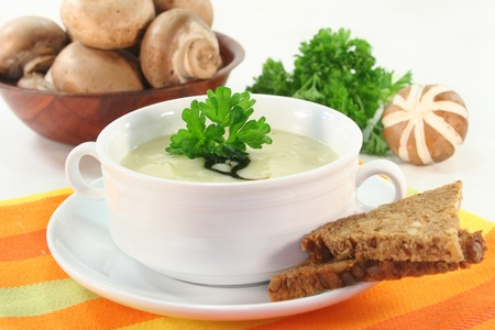 vegetable soup: a bowl of Cream of mushroom soup with fresh ingredients