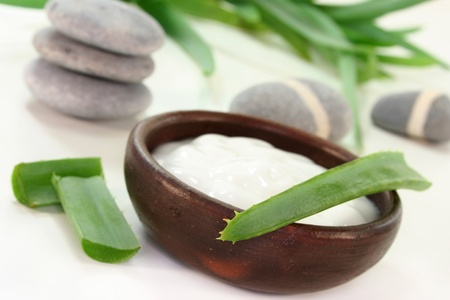 expectorant: a bowl of lotion with aloe vera on a white background Stock Photo