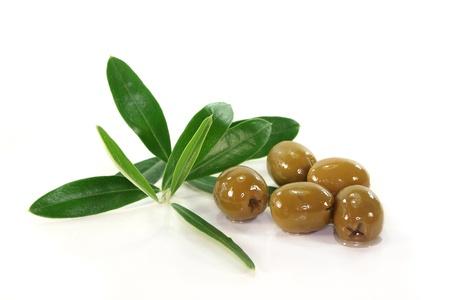 rama de olivo: Aceitunas y la rama de olivo sobre un fondo blanco Foto de archivo