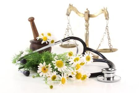 medicinal plants: Estetoscopio sobre un fondo blanco y la manzanilla