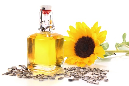 a bottle of sunflower oil with sunflower Stock Photo - 9847875