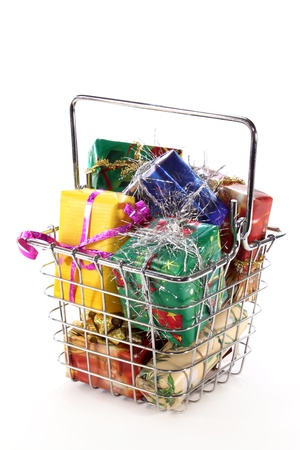 a shopping basket filled with colorful gifts photo