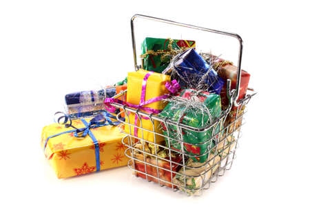 a shopping basket filled with colorful gifts