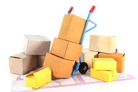 moving truck: a sack truck and packing boxes on a white background Stock Photo