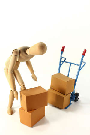 sack truck: a sack truck and packing boxes on a white background Stock Photo