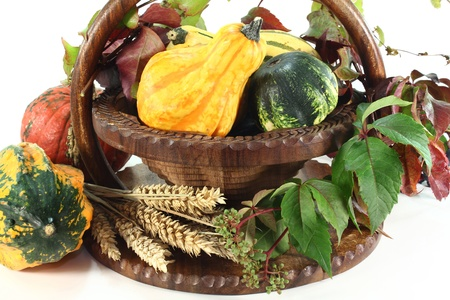 a basket decorated with ornamental gourd, wild grape and wheat ears photo