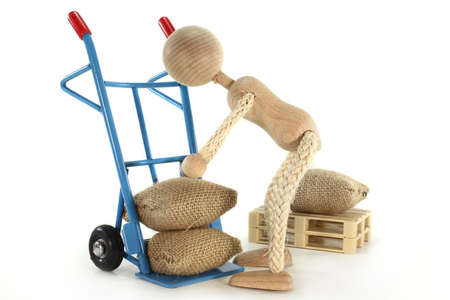 sack truck: a sack barrow laden with burlap sacks Stock Photo
