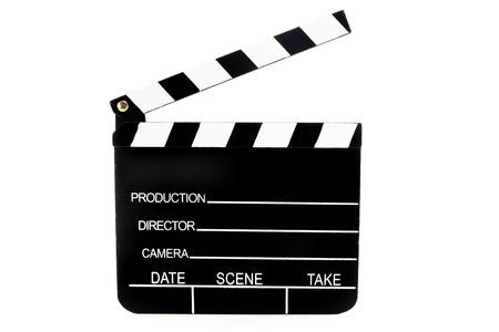 czarny i biały Klapa filmu na białym tle Zdjęcie Seryjne