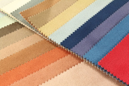 different colored fabrics samples for household furniture