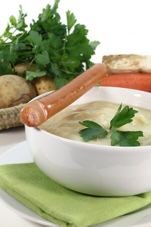 a bowl of potato soup with parsley Stock Photo - 11592150