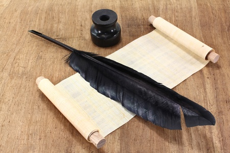 papyrus: a papyrus scrolls with ink and pen