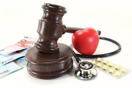 bill of rights: judges gavel with stethoscope and pills