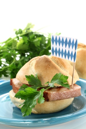 a bread roll with beef and pork loaf and parsley Stock Photo - 14310920