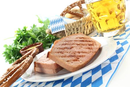 a bretzel with beef and pork loaf and parsley Stock Photo - 14394228