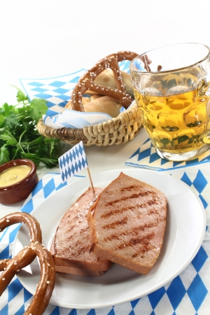 a bretzel with beef and pork loaf and parsley Stock Photo - 14394231