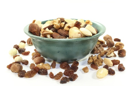 cholesterol free: various nuts and raisins on a white background