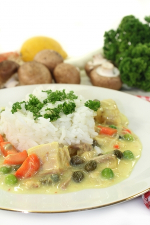 fricassee: a plate with rice and colorful chicken fricassee