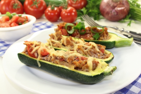 amuse: baked zucchini filled with mince meat and tomato