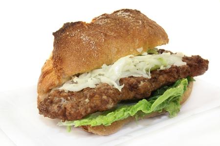 a bun with salisbury steak, coleslaw and salad photo