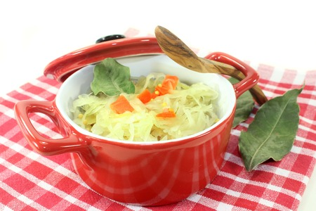 bay leaf: fresh cabbage with carrots and bay leaf