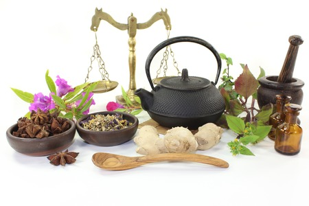 various Chinese remedies on a white background