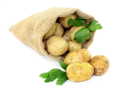 viands: raw potatoes and parsley in a jute sack Stock Photo