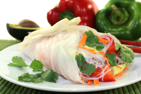rice paper: Rice paper stuffed with glass noodles, carrots, peppers and cilantro