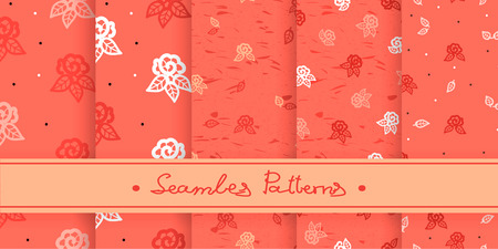 Five seamless patterns with vintage roses. Background with blooming flower silhouette.