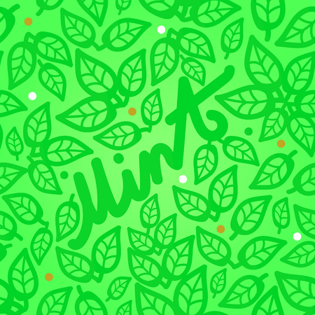 Fresh mint leaves seamless pattern on a green background with a beautiful inscription. Web design.