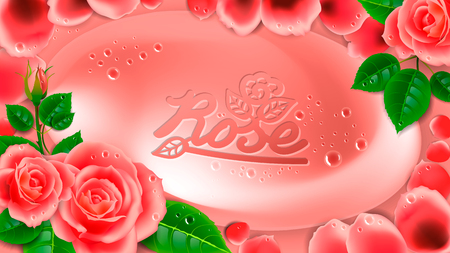 Pink soap in a frame of flowers and rose petals.