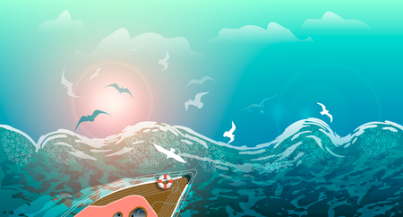 Storm on the sea, waves and seagulls, yacht sailing on the waves at sunset, summer seascape. Banner or postcard for the tour operator.