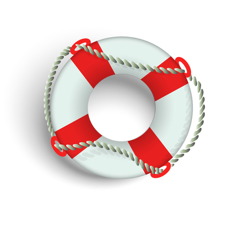 Marine lifebuoy with flagella on a white background. Illustration