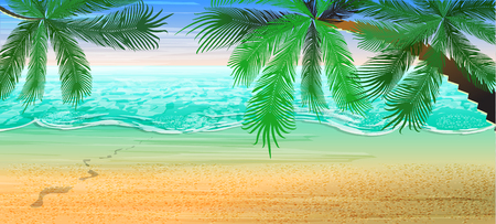 Summer beach background. View on the sea and the horizon under the palm trees.