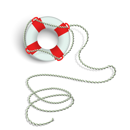 Marine lifebuoy with flagella on a white background. Isolate.