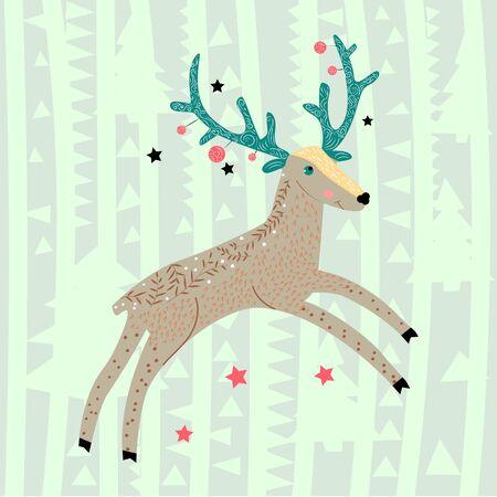 Wild forest animals. Christmas deer with blue-green horns gallops. Scandinavian style. Childrens design. Illustration, poster, postcard.Illustration.