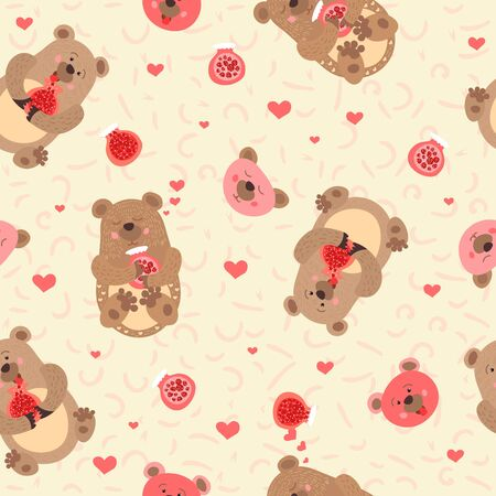 Bears with jam. Wild forest animals. Baby design. Seamless pattern. illustration
