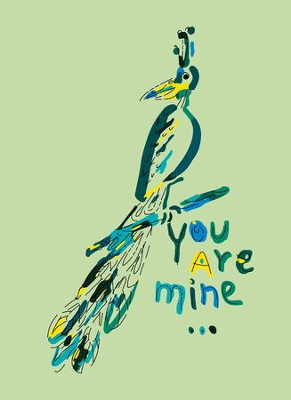 Colored funny peacock with the inscription You are mine sitting on a branch. Hand drawn illustration. Stock Illustratie