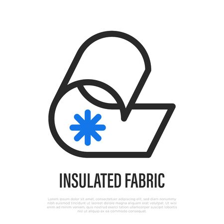 Insulated fabric thin line icon. Vector illustration of fabric feature.