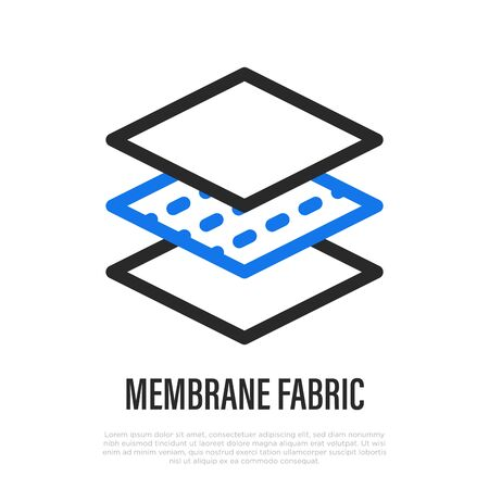 Membrane fabric thin line icon. Layered structure of textile . Vector illustration of fabric feature.
