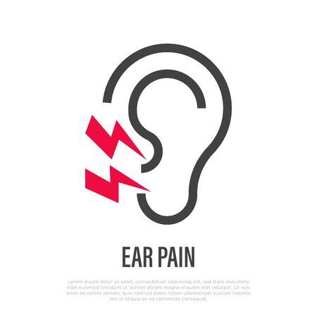 Ear pain thin line icon. Otitis. Vector illustration of illness symptom. Vektorgrafik