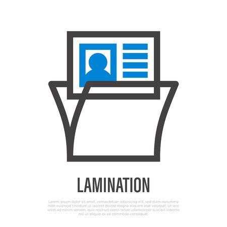 Lamination thin line icon. Typography equipment. Vector illustration. Ilustração Vetorial