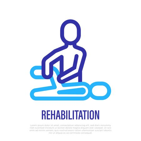 Rehabilitation, physiotherapy thin line icon. Exercises with therapist after injury. Vector illustration. Vettoriali