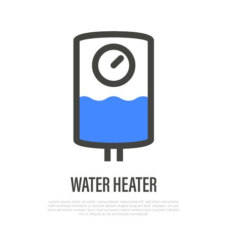 Water heater thin line icon. Thermal boiler for home. Vector illustration. Illustration